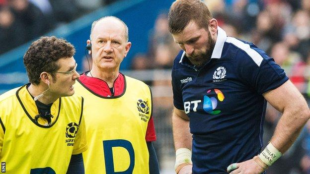 Scotland flanker John Barclay is forced off injured