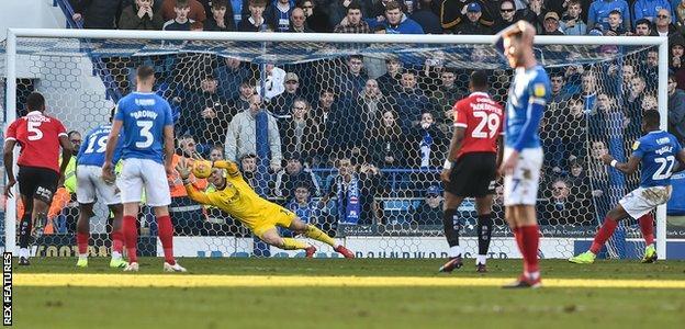 Omar Bogle has his penalty saved by Barnsley keeper Adam Davies
