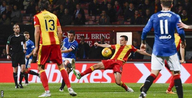 Graham Dorrans smashes in the equaliser for Rangers with 13 minutes to go