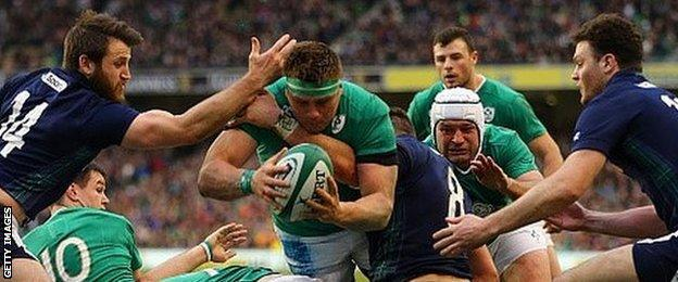 CJ Stander dives over to score Ireland's first try