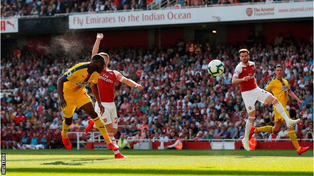 Christian Benteke scores for Crystal Palace against Arsenal