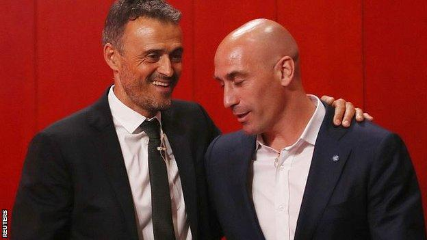 Luis Enrique and Luis Rubiales at the former's unveiling as Spain coach