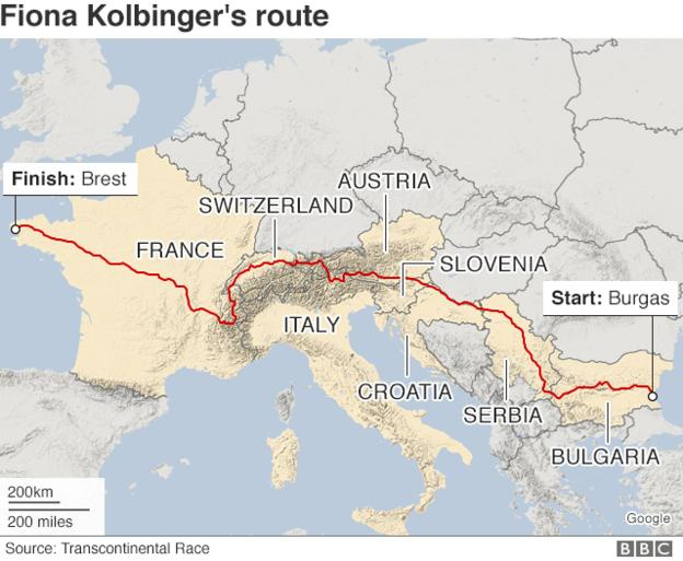Fiona Kolbinger's route for the Transcontinental Race