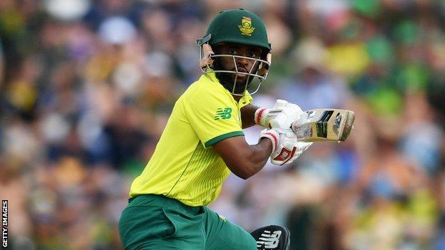 South Africa batsman Temba Bavuma plays a shot during a T20 international