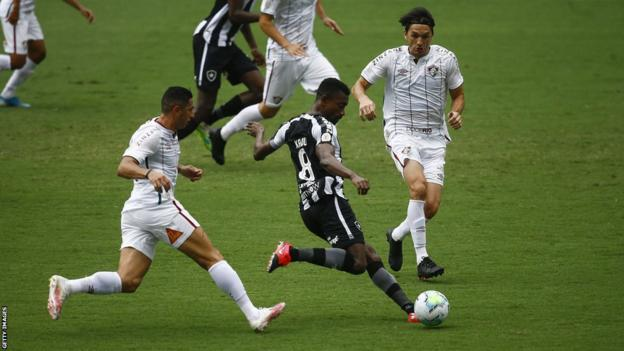 Former Ivory Coast forward Salomon Kalou in action for Brazil's Botafogo