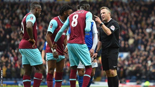 West Ham United midfielder Cheikhou Kouyate is sent off against Blackburn Rovers