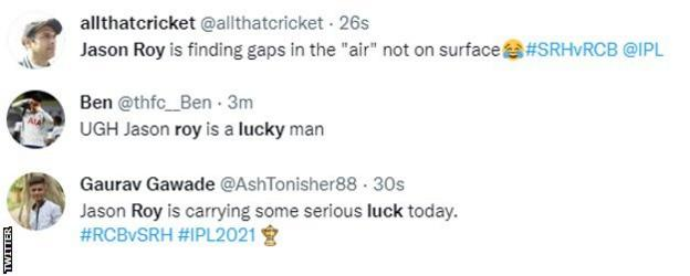 Fans on Twitter describe Jason Roy as lucky during his innings for Sunrisers Hyderabad against Royal Challengers Bangalore