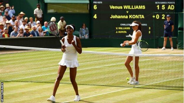 Johanna Konta lost to Venus Williams in straight sets in the Wimbledon semi-finals