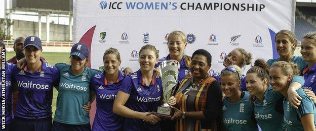 England receive the one-day series trophy