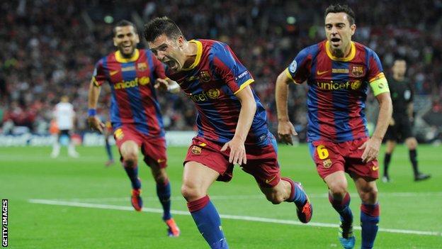 David Villa celebrates scoring for Barcelona in the 2011 Champions League final
