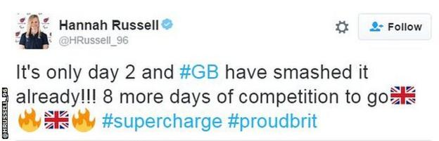 A tweet from swimmer Hannah Russell about Great Britain's dominance on day two