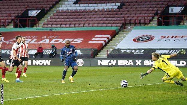 Alexandre Lacazette scores for Arsenal at Sheffield United