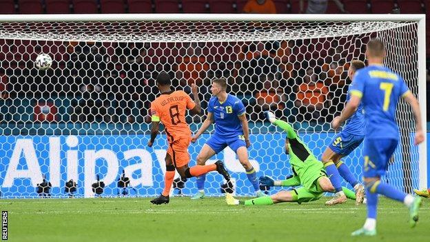 Georginio Wijnaldum scores for the Netherlands against Ukraine at Euro 2020