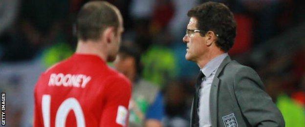 England forward Wayne Rooney and former manager Fabio Capello