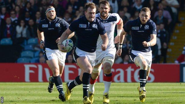 Stuart Hogg breaks for Scotland