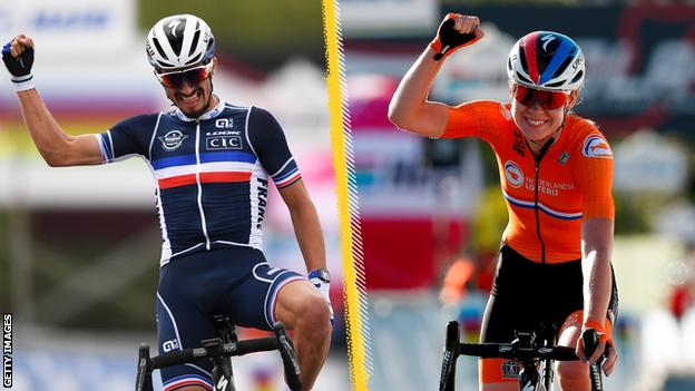 Julian Alaphilippe (left) and Anna van der Breggen (right) celebrate winning the elite men's and women's road races at the 2020 Road World Championships in Italy