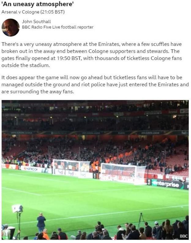 Arsenal v Cologne