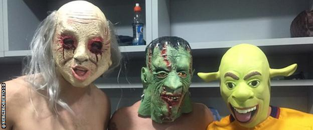 Barcelona players dress up for Halloween