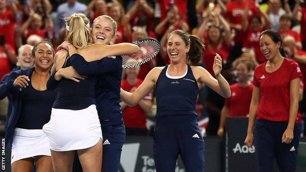 GB's Fed Cup team celebrate victory over Kazakhstan