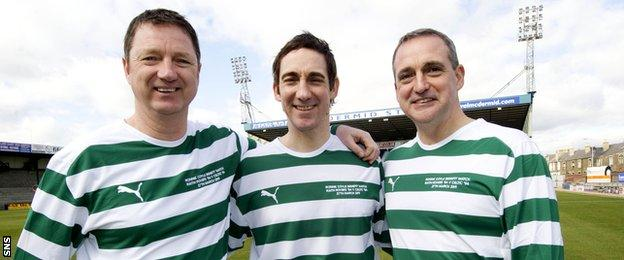 Willie McStay (left) joins brothers Raymond (centre) and Paul prior to kick-off at Ronnie Coyle's benefit match in Kirkcaldy in 2011