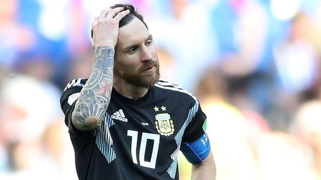 Lionel Messi misses a penalty for Argentina