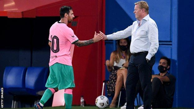 Lionel Messi and Ronald Koeman