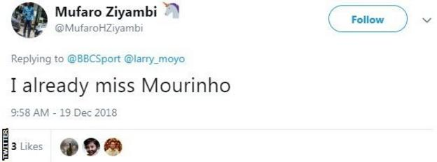 Tweet from Mufaro saying 'I already miss Mourinho'