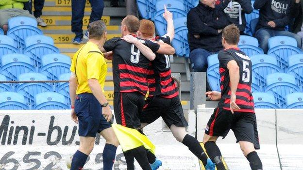 Coleraine players congratulate Sammy Morrow who scored his side's opening goal against Ballymena