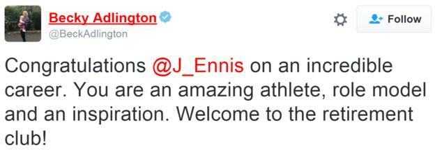 Becky Adlington tweet