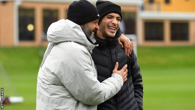 Raul Jimenez and Nuno Espirito Santo