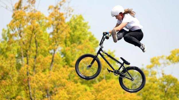 HIROSHIMA, JAPAN - APRIL 21: Lara Lessmann of Germany competes in the UCI BMX Freestyle Park World Cup on day three of the FISE Hiroshima at former Hiroshima Municipal Stadium on April 21, 2019 in Hiroshima, Japan. (Photo by Atsushi Tomura/Getty Images)