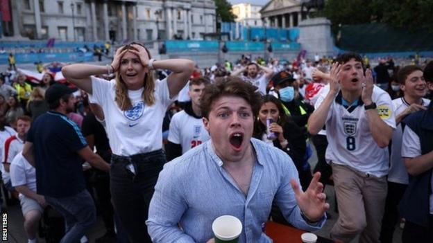 England fans react in Euro 2020 game against Ukraine