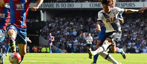 Son Heung-min scores for Tottenham against Crystal Palace
