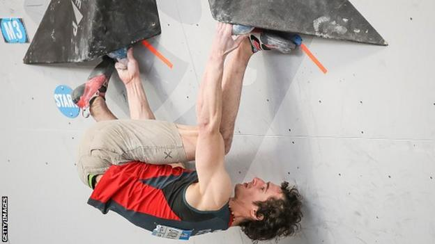 Olympic hopeful Adam Ondra competing at the Climbing World Cup