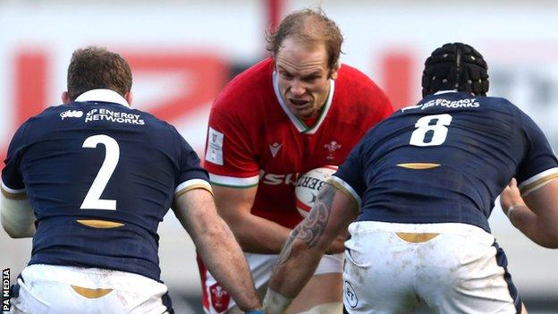 Wales captain Alun Wyn Jones won a world record 149th cap in the match with Scotland