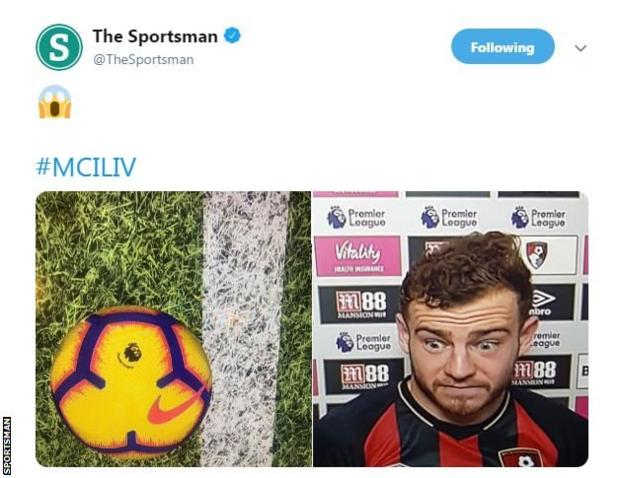 The Sportsman uses Bournemouth midfielder Ryan Fraser's surprised face from an interview on Tuesday next to the computerised image of the ball almost crossing the line.