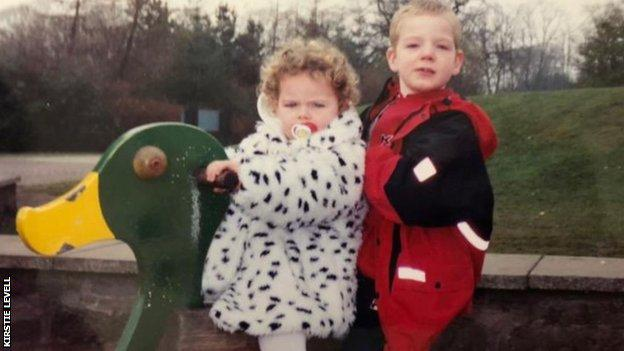 Kirstie with her brother when they were kids