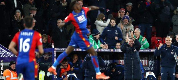 Sam Allardyce (second from right) celebrates Palace scoring