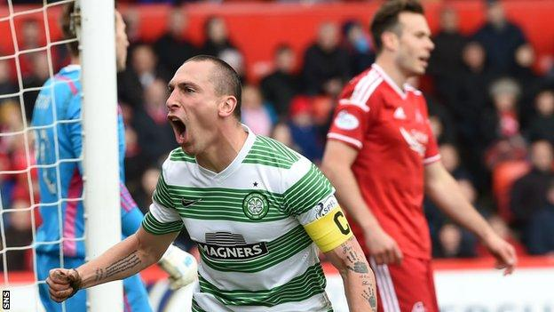 Celtic's Scott Brown celebrates against Aberdeen