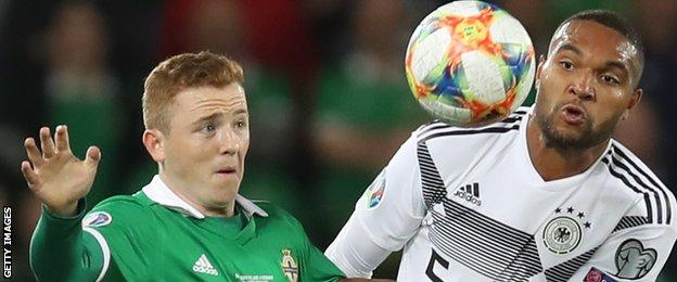 Linfield's Shayne Lavery came on as a late substitution in NI's defeat by Germany at Windsor Park in September