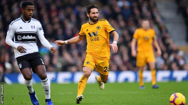 Wolves midfielder Joao Moutinho goes to play the ball against Fulham