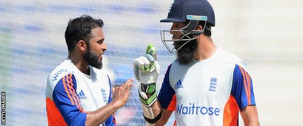 Adil Rashid and Moeen Ali in the nets for England in Dubai