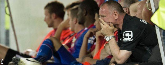 Caley Thistle boss John Hughes looks disappointed in the dugout