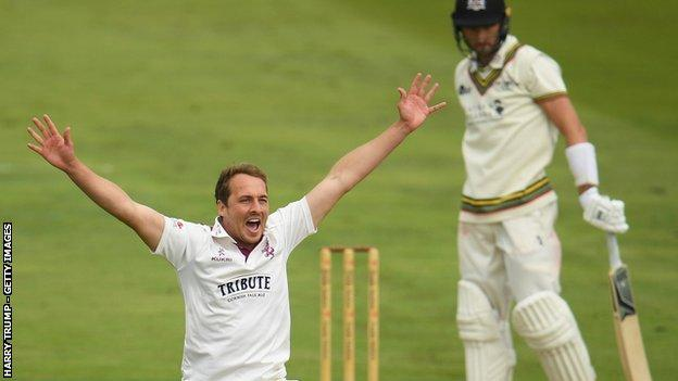 Somerset fast bowler Josh Davey has so far taken 5-28 in the match against Gloucestershire at Taunton