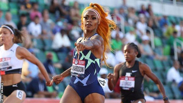 Sha'Carri Richardson competing in the women's 100m event at the 2020 US Olympic Track & Field Team Trials in Eugene, Oregon