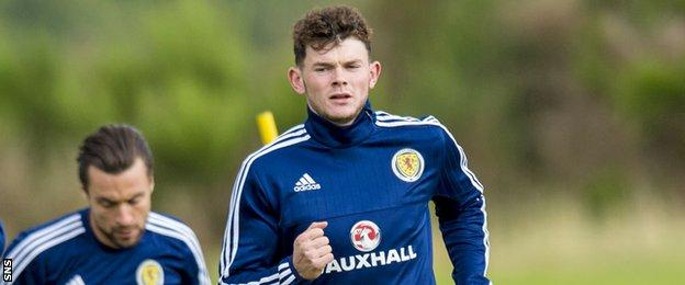 Oliver Burke trains with Scotland before their qualifier against Malta