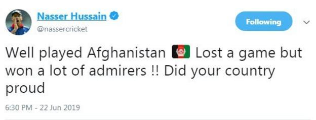 Former England captain Nasser Hussain praises Afghanistan on Twitter