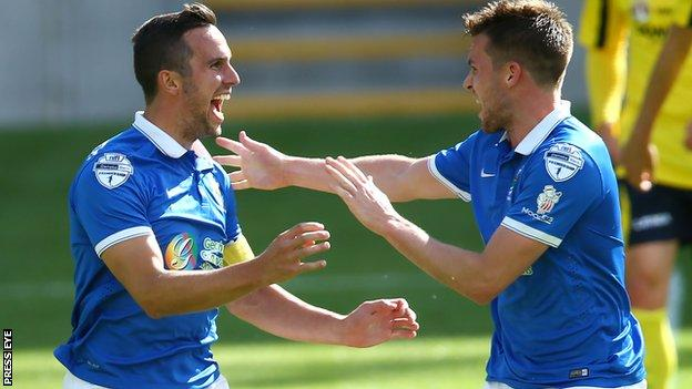 A delighted Andrew Waterworth celebrates his first goal against Dungannon