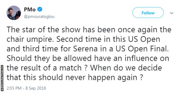 """Serena Williams' coach Patrick Mouratoglou tweets to says """"the star of the show has once again been the chair umpire"""""""