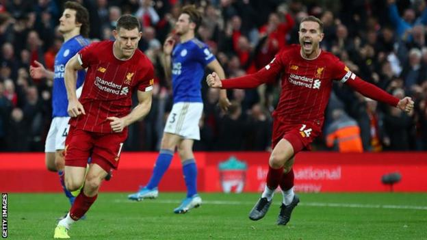 Liverpool 2 1 Leicester City James Milner S Late Penalty Extends Reds Perfect Start Bbc Sport